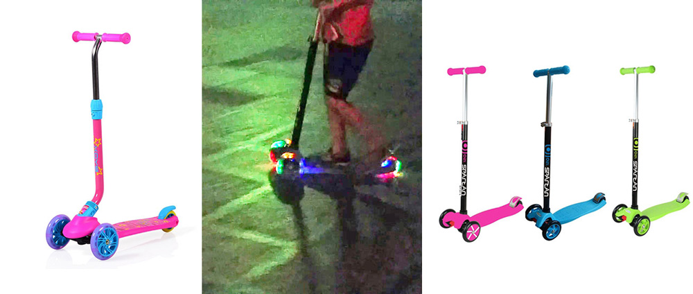 микро тротинетка със светещи колела